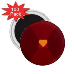 Heart Red Yellow Love Card Design 2 25  Magnets (100 Pack)  by BangZart