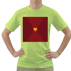 Heart Red Yellow Love Card Design Green T Shirt