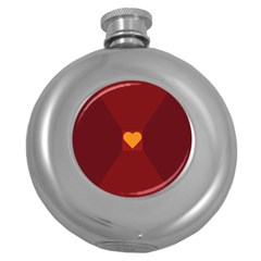 Heart Red Yellow Love Card Design Round Hip Flask (5 Oz)