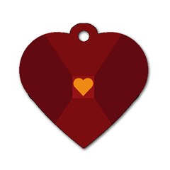 Heart Red Yellow Love Card Design Dog Tag Heart (two Sides)