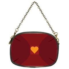 Heart Red Yellow Love Card Design Chain Purses (one Side)