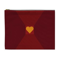 Heart Red Yellow Love Card Design Cosmetic Bag (xl)