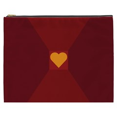 Heart Red Yellow Love Card Design Cosmetic Bag (xxxl)