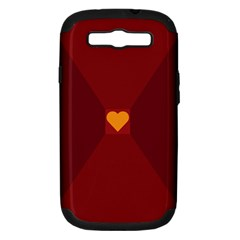 Heart Red Yellow Love Card Design Samsung Galaxy S Iii Hardshell Case (pc+silicone)