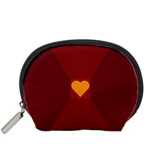 Heart Red Yellow Love Card Design Accessory Pouches (small)