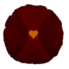 Heart Red Yellow Love Card Design Large 18  Premium Flano Round Cushions