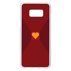 Heart Red Yellow Love Card Design Samsung Galaxy S8 Plus White Seamless Case