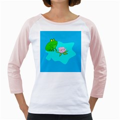 Frog Flower Lilypad Lily Pad Water Girly Raglans