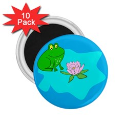 Frog Flower Lilypad Lily Pad Water 2 25  Magnets (10 Pack)