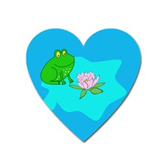 Frog Flower Lilypad Lily Pad Water Heart Magnet by BangZart