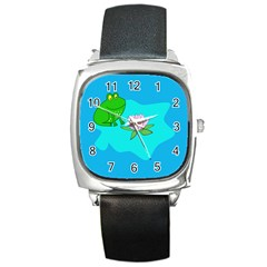 Frog Flower Lilypad Lily Pad Water Square Metal Watch