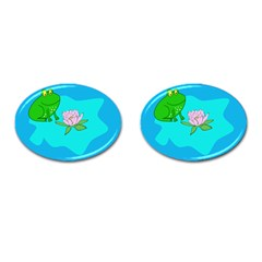 Frog Flower Lilypad Lily Pad Water Cufflinks (oval)