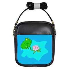 Frog Flower Lilypad Lily Pad Water Girls Sling Bags by BangZart