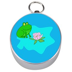 Frog Flower Lilypad Lily Pad Water Silver Compasses