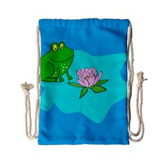 Frog Flower Lilypad Lily Pad Water Drawstring Bag (small)