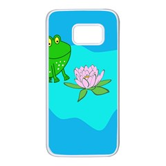 Frog Flower Lilypad Lily Pad Water Samsung Galaxy S7 White Seamless Case