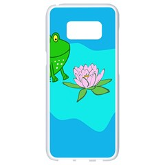 Frog Flower Lilypad Lily Pad Water Samsung Galaxy S8 White Seamless Case