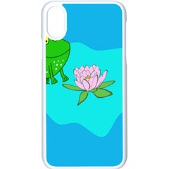 Frog Flower Lilypad Lily Pad Water Apple Iphone X Seamless Case (white)