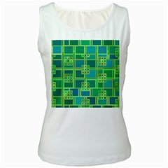 Green Abstract Geometric Women s White Tank Top