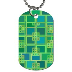 Green Abstract Geometric Dog Tag (two Sides) by BangZart