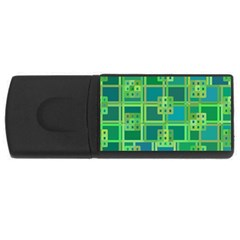 Green Abstract Geometric Rectangular Usb Flash Drive
