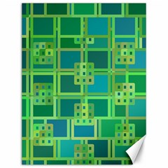 Green Abstract Geometric Canvas 12  X 16