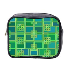Green Abstract Geometric Mini Toiletries Bag 2 Side