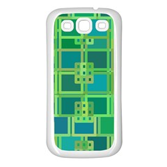 Green Abstract Geometric Samsung Galaxy S3 Back Case (white)