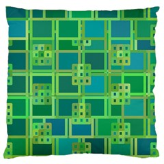 Green Abstract Geometric Large Flano Cushion Case (two Sides)