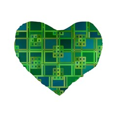 Green Abstract Geometric Standard 16  Premium Flano Heart Shape Cushions by BangZart