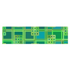 Green Abstract Geometric Satin Scarf (oblong)