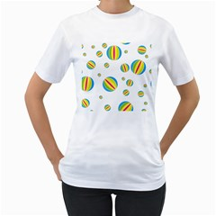 Balloon Ball District Colorful Women s T Shirt (white) (two Sided)