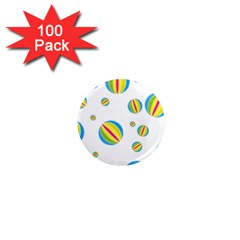 Balloon Ball District Colorful 1  Mini Magnets (100 Pack)