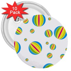 Balloon Ball District Colorful 3  Buttons (10 Pack)