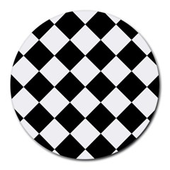 Grid Domino Bank And Black Round Mousepads