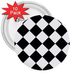Grid Domino Bank And Black 3  Buttons (10 Pack)
