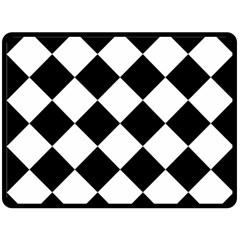 Grid Domino Bank And Black Fleece Blanket (large)