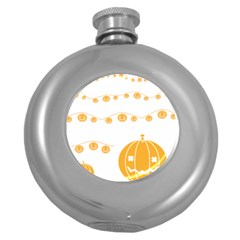 Pumpkin Halloween Deco Garland Round Hip Flask (5 Oz)
