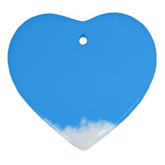 Sky Blue Blue Sky Clouds Day Heart Ornament (two Sides)