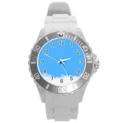 Sky Blue Blue Sky Clouds Day Round Plastic Sport Watch (l) by BangZart