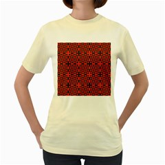 Abstract Background Red Black Women s Yellow T Shirt