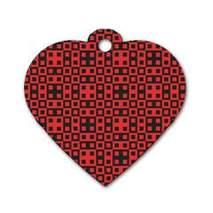 Abstract Background Red Black Dog Tag Heart (two Sides)