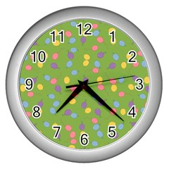 Balloon Grass Party Green Purple Wall Clocks (silver)
