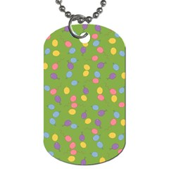 Balloon Grass Party Green Purple Dog Tag (two Sides)