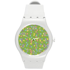 Balloon Grass Party Green Purple Round Plastic Sport Watch (m)