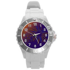Sylvester New Year S Day Year Party Round Plastic Sport Watch (l)
