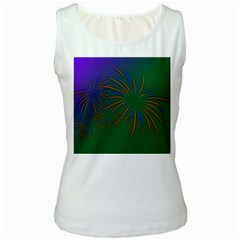 Sylvester New Year S Day Year Party Women s White Tank Top