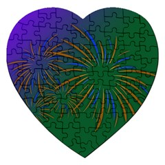 Sylvester New Year S Day Year Party Jigsaw Puzzle (heart) by BangZart