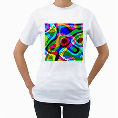 Digital Multicolor Colorful Curves Women s T Shirt (white) (two Sided)