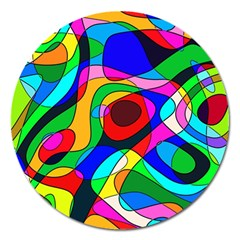 Digital Multicolor Colorful Curves Magnet 5  (round)